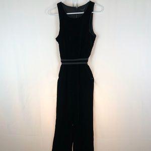 Ann Taylor black velvet jumpsuit pockets NWT 4